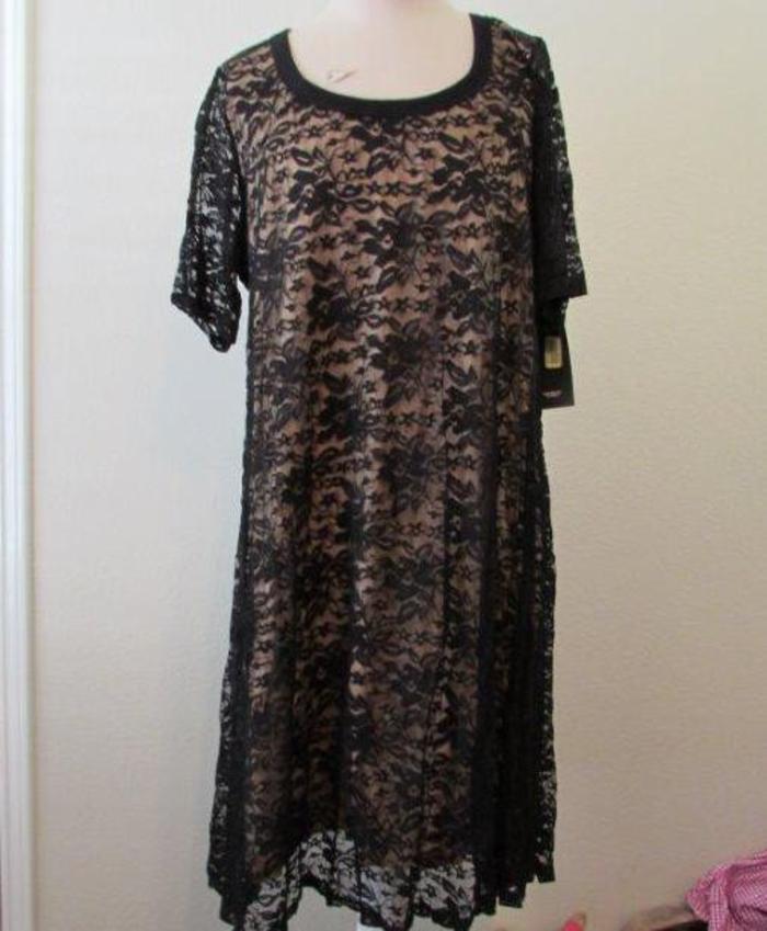 KAREN KANE damen plus 2X schwarz lace overlay s s stretchy dress NEW