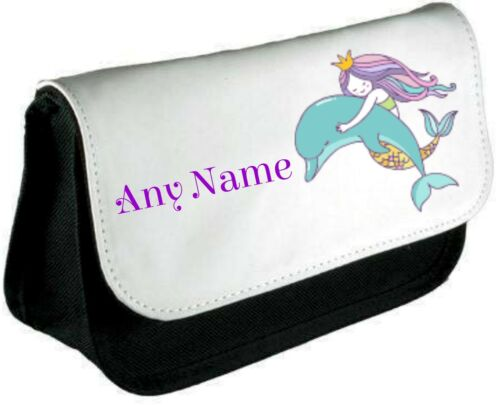 Personalised MERMAID//DOLPHIN Pencil Case//Make Up Bag *Choice of text colour*