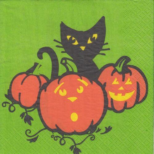 19U-11 2 Lunch Papier Servietten Napkins Halloween Katze