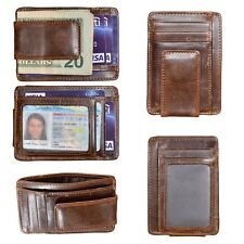 HOPSOOKEN Men's Leather Money Clip Wallet - Brown (0799460092556)