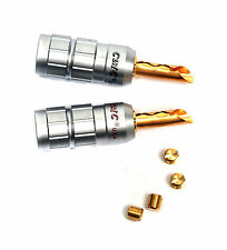 2 pairs Speaker Banana Male Plug CMC 0638-W-F Gold-plated Swiss Copper USA