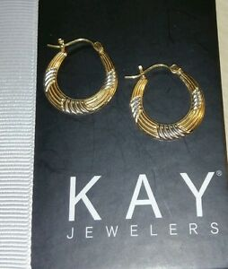 2e077b379 Kays Kay Jewelers® 14k Yellow & white gold 2 tone diamond cut hoop ...