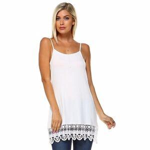 4906a7a06687b Off White Camisole Long Tank Slip Top Extender Crochet Lace Hem ...
