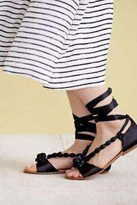647cfddb9 Anthropologie BILLY ELLA 7 8 9 Sandals Satin Beaded Gladiator Shoes ...