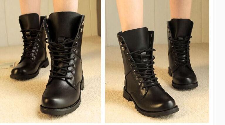 botas invierno cómodo botas militares mujer talón 3.5 cm negro código 8724