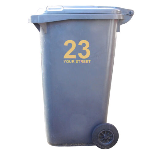 3 x Wheelie Bin Numbers Your House Number And Road//Street Name Vinyl Stickers