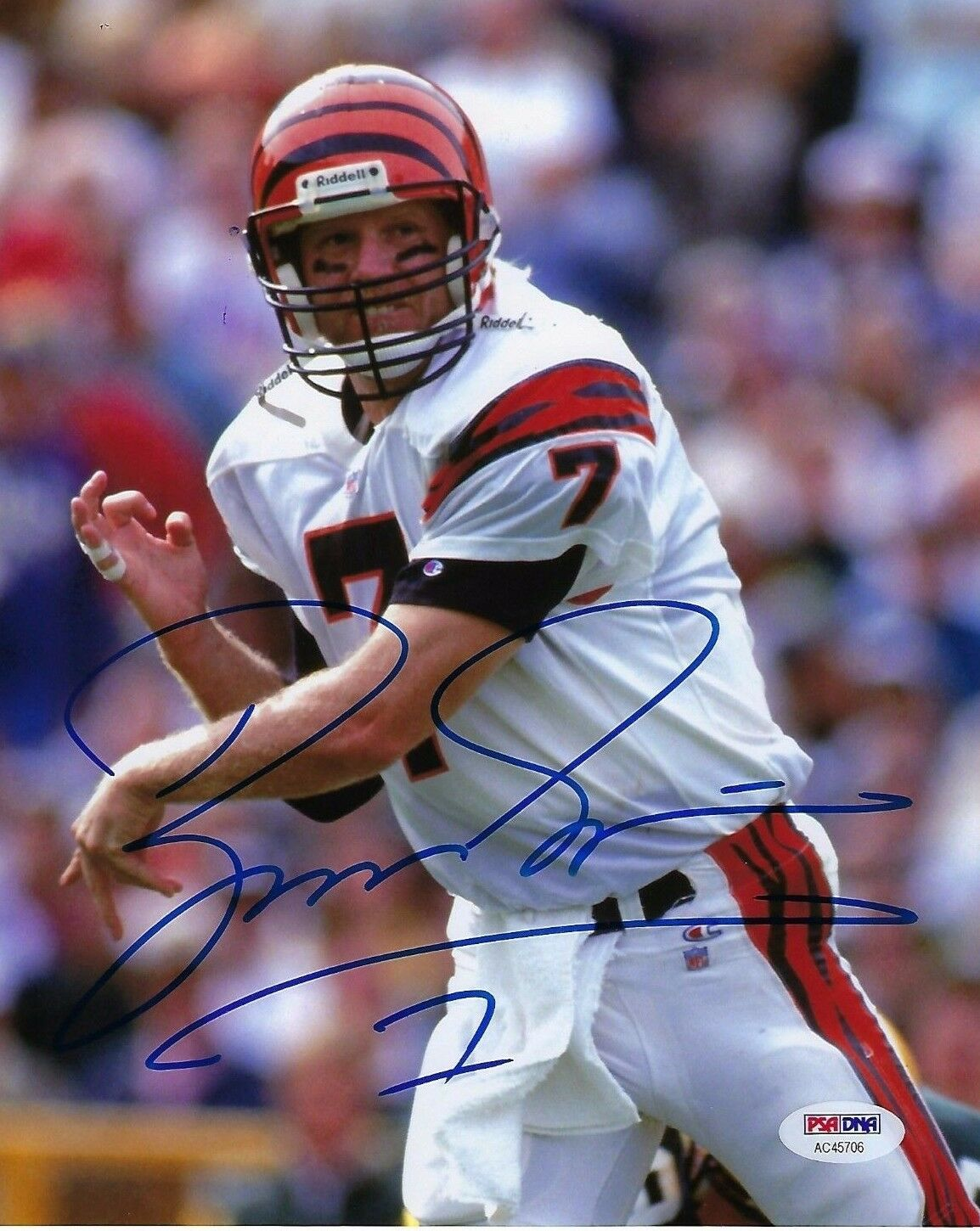 Boomer Esiason Signed Bengals Football 8x10 Photo PSA AC45706