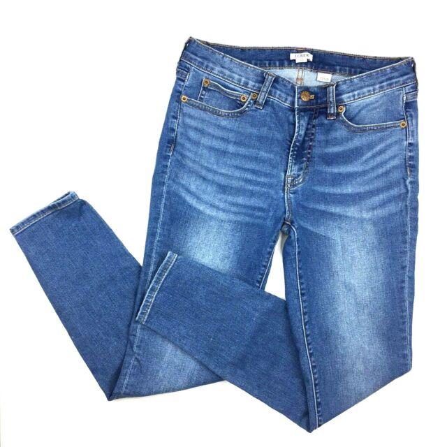 J Crew Jeans size 27 Mid Rise Waist Skinny Stretch Distressed Ankle Denim Womens