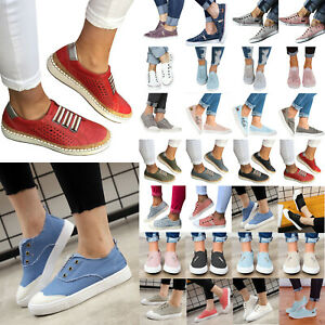 Women-039-s-Canvas-Slip-On-Flats-Trainers-Casual-Loafers-Ladies-Pumps-Pilmsoll-Shoes