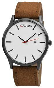 Qbos-Herrenuhr-Weiss-Braun-Analog-Datum-Metall-Kunst-Leder-Quarz-X2900175002