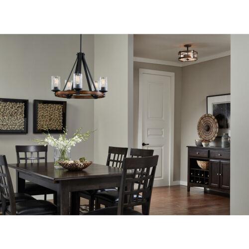 "Kichler Barrington 14/"" Distressed Wood Glass Semi-Flush Mount Ceiling Light New"