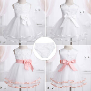 942f4c3e504b6 Baby Girl Baptism Princess Tutu Dresses Infant 1st Birthday ...