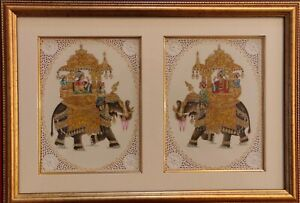 Hand-Painted-Mughal-Maharajah-Ambabari-Miniature-Painting-India-Artwork-Framed