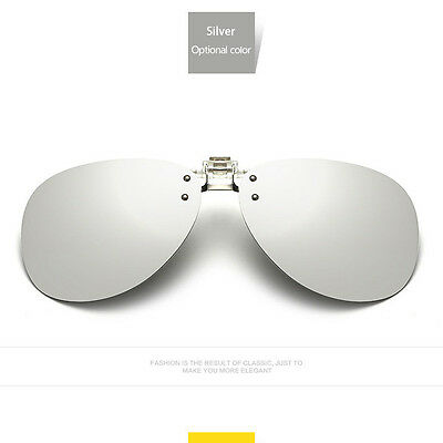 Polarized Flip Up Clip On Sunglasses pilot Night Vision Car Driving SunGlasses