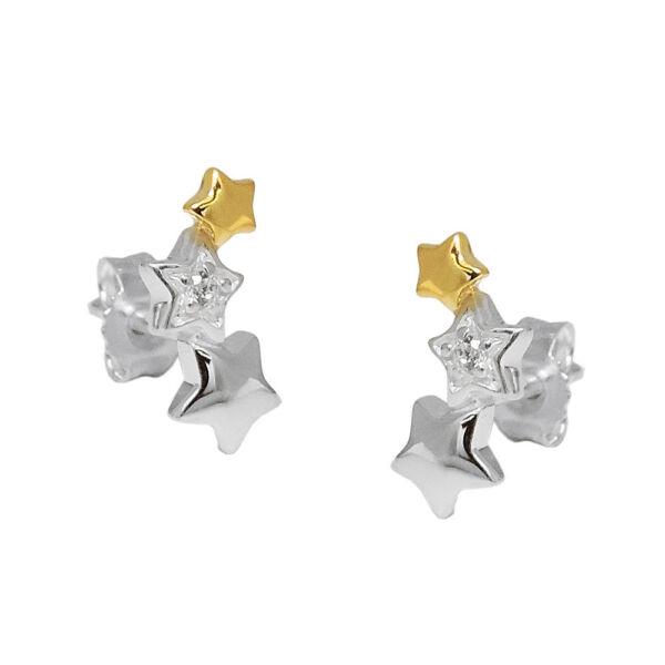 100% QualitäT Ohrstecker 11x5mm Ohrringe Drei Sterne Zirkonia 925 Silber Bicolor Vergoldet BerüHmt FüR AusgewäHlte Materialien, Neuartige Designs, Herrliche Farben Und Exquisite Verarbeitung