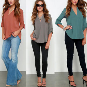 Summer-Women-Loose-V-Neck-Chiffon-Long-Sleeve-Blouse-Casual-Collar-Shirt-Tops