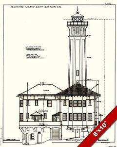 Alcatraz island prison lighthouse blueprints drawaing art real image is loading alcatraz island prison lighthouse blueprints drawaing art real malvernweather Images
