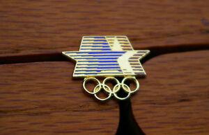 1980-Olympic-Stars-amp-Rings-Red-Blue-amp-Gold-Tone-Metal-Lapel-Pin-Pinback
