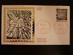 FRANCE-PREMIER-JOUR-FDC-N-2449-VITRAIL-DE-L-EGLISE-ST-JACQUES-2-2-F-REIMS-1986