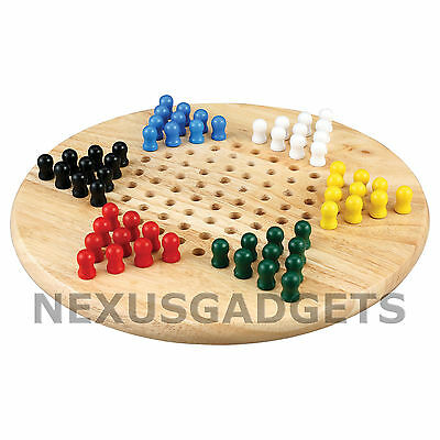 Natural Wood Chinese Checkers Set with Round Board and Multi-color Game Pegs
