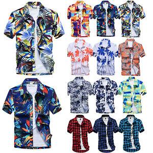 Men-Boy-Hawaiian-Short-Sleeve-Blouse-Shirts-Summer-Beach-Casual-T-Shirt-Tops-Tee
