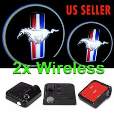 2x Wireless LED Courtesy Car Door Step Laser Welcome Ghost Lights for Mustang
