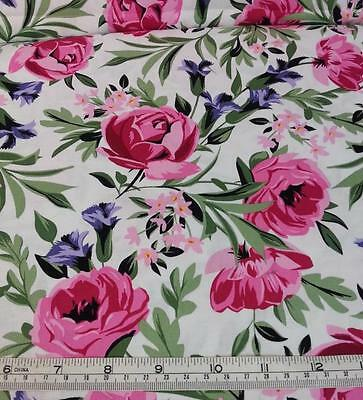 BED OF ROSES PINK BLUE FLORAL MICHAEL MILLER COTTON FABRIC