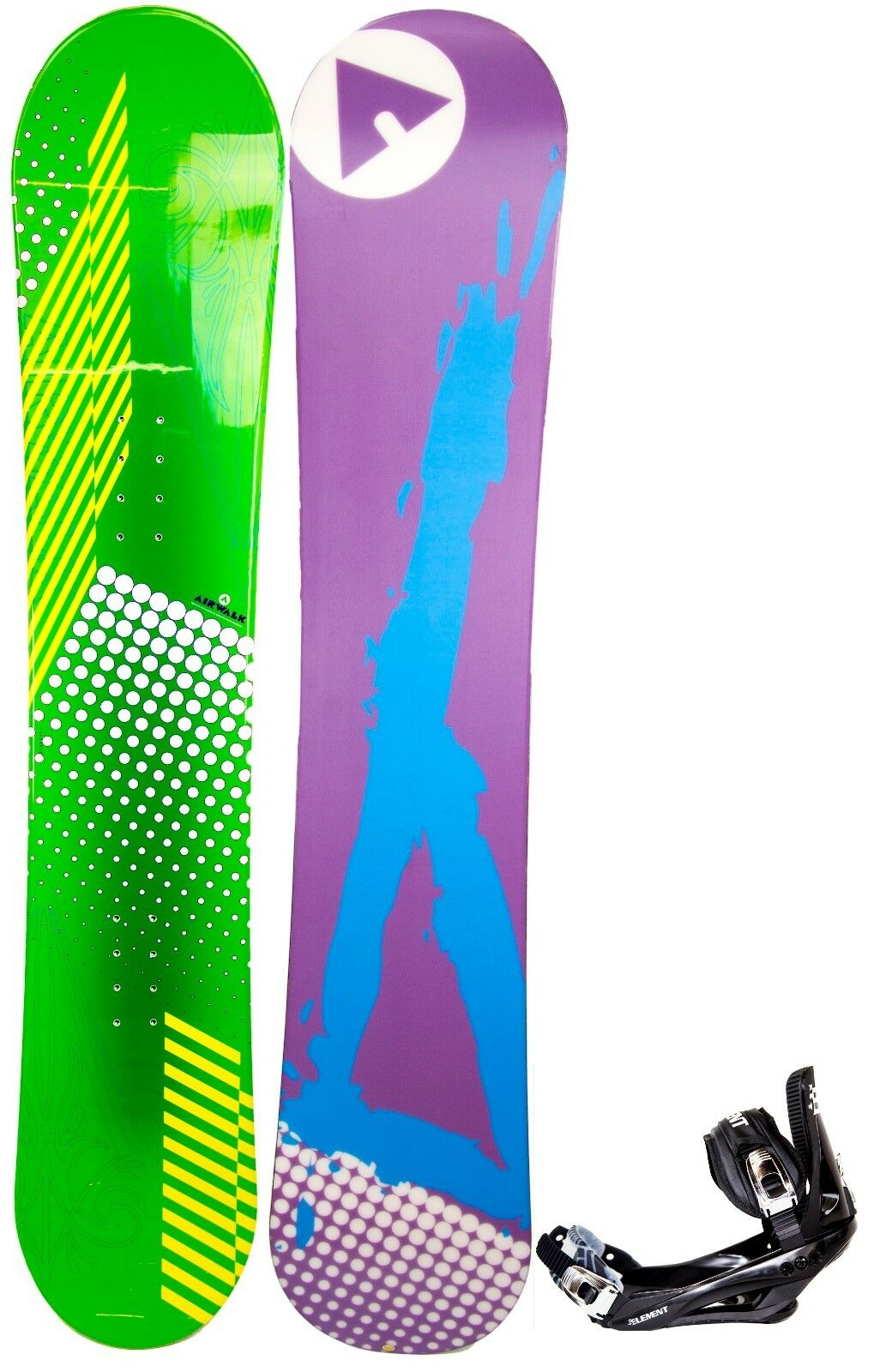 NEW   600 Mens Airwalk RARE Green Dots Snowboard +Stealth Binding 145CM Nice Ride  2018 store