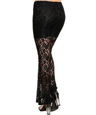 L TRIBAL GOTHIC GYPSY BOHO SALSA LACE BELLY DANCE DANCING HAREM PALAZZO PANTS