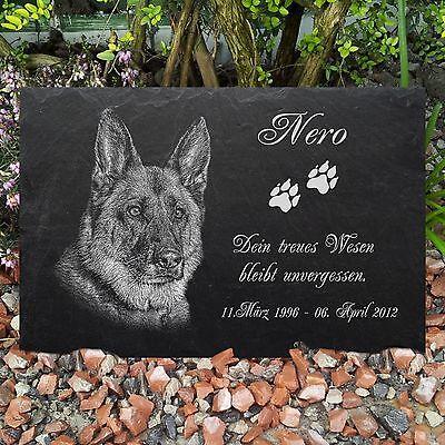 GRANIT Grabstein Tiergrabstein Gedenkstein Hund-G16 ► FOTO GRAVUR ◄ 40 x 30 cm