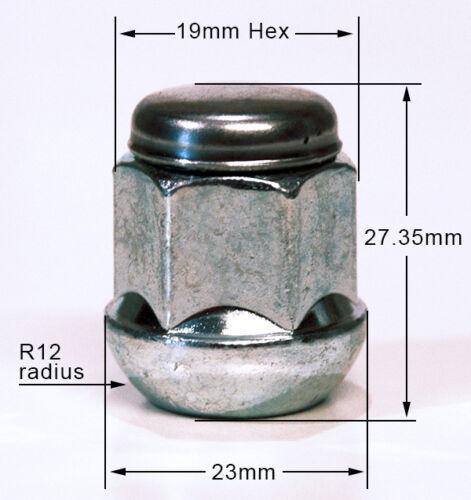Rover alliage écrous de roue M12 x 1,5. 19mm hex rayon ensemble de 16