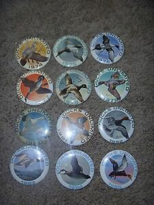 (12) Ducks Unlimited Pinback Buttons Pins 1974-1985 Excellent
