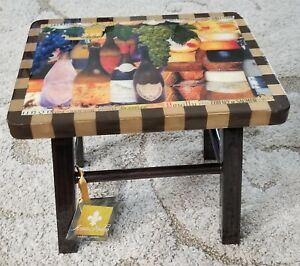 Miraculous Details About Annie Modica Wine Cheese Foot Stepping Stool Wood Art Home Decor In Hand New Machost Co Dining Chair Design Ideas Machostcouk