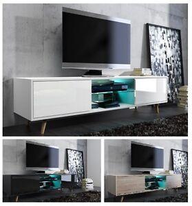 Tv schrank modern led  TV LOWBOARD SCHRANK TISCH BOARD mit HOCHGLANZ MODERN 140cm mit LED ...