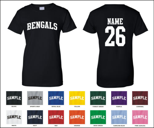 Bengals Custom Personalized Name /& Number Woman/'s T-shirt