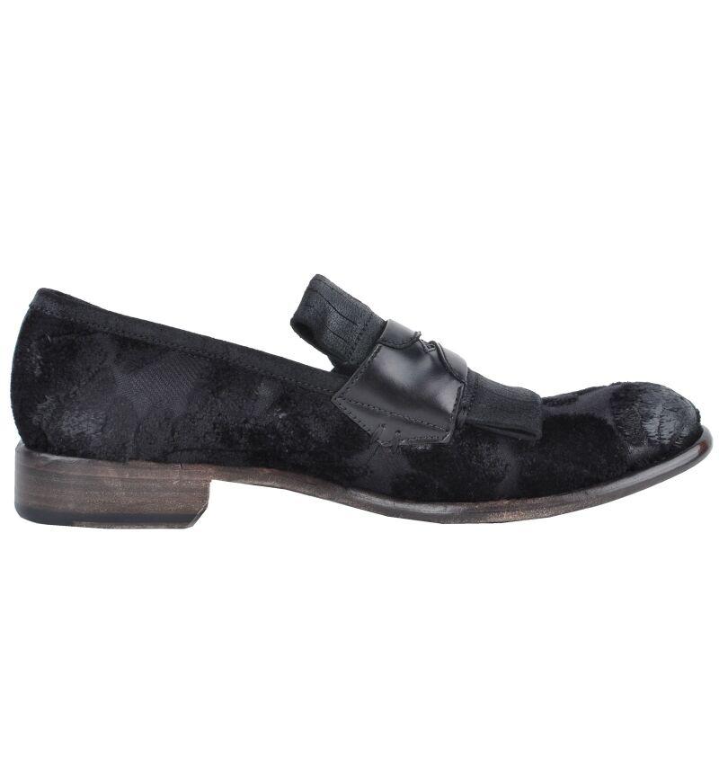 Scarpe casual da uomo  Dolce & GABBANA Runway barocco SLIPPER SCARPE NERE Baroque printed shoes 02924