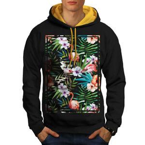 Flamigo Contrast Felpa con Flower Black cappuccio oro Men cappuccio New qEqfRwC