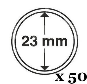 Lot-de-50-capsules-Diametre-23-mm-pour-vos-pieces-d-039-1-euro-Leuchtturm