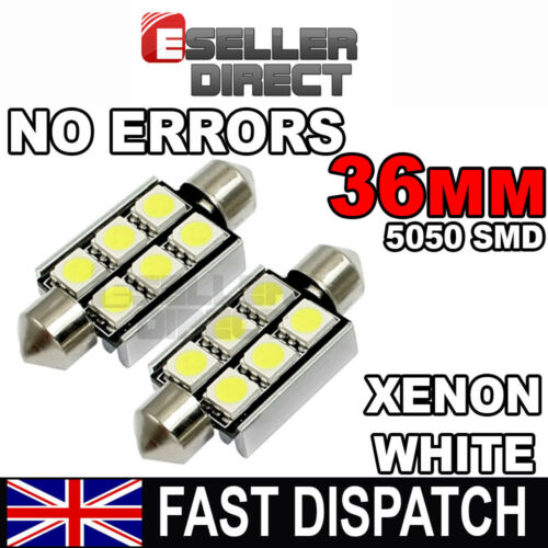 2x 36//39//41 mm 3 6SMD 5050 LED Blanc Voiture Feston Dôme Plaque Minéralogique carte Ampoule