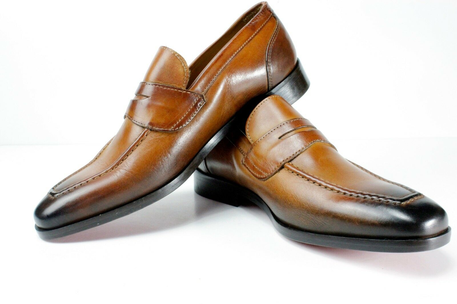 IVAN TROY Cognac Madou Handmade Italian Leather Dress shoes Loafers Office shoes