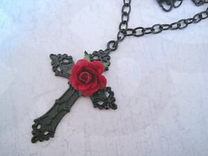 Ornate black cross red rose chain necklace gothic dita halloween image is loading ornate black cross red rose chain necklace gothic mozeypictures Image collections