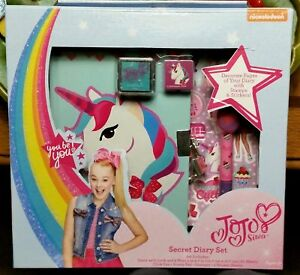 NIB JOJO SIWA UNICORN BOW SECRET DIARY SET STICKERS STAMPS PEN LOCK ... 8297507af
