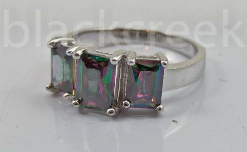 Rainbow Topaz CZ ~ 925 Sterling Silver ~ 3-Stone Promise Ring~ Choose Size