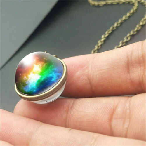 Double Sided Moon Space Nebula  Solar System Glass Ball Necklace Galaxy Pendant