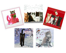 Cats Kittens Christmas Cards Pack of 10, Cute Cat Glitter & Foil Xmas Cards NEW