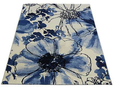 Eternity Off White & Blue Modern / Floral Wool Look Rugs - 80x150cm -32041/6247