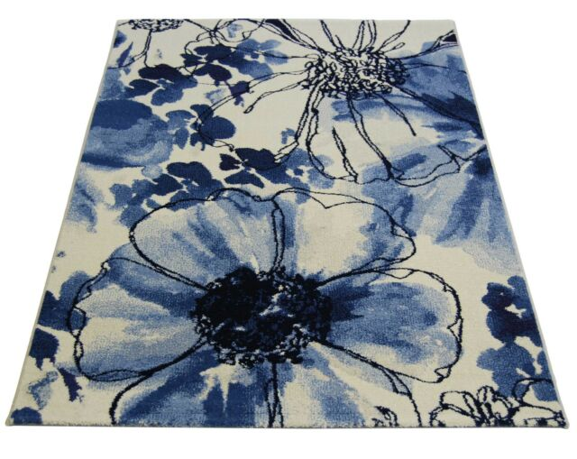 Eternity Off White & Blue Modern / Floral Wool Look Rugs - 120x170cm -32041/6247