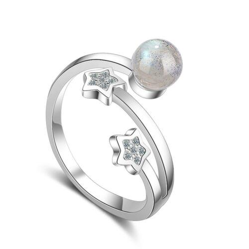 European Crystal Gem Anneaux Argent Couleur CZ Open Ring Free Taille Bijoux Cadeau de Noël
