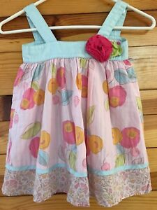 Baby Lulu Pink & Blue Mixed Floral Print Tunic Dress 3D Flower Girls Size 2T