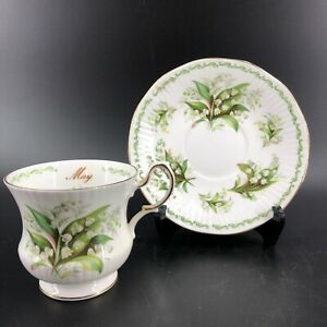 Queen-s-Rosina-LILY-OF-THE-VALLEY-Flower-of-Month-MAY-Bone-China-Teacup-Set